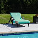 Authentic Hotel and Spa Turkish Cotton Monogrammed Aqua Towel Cover for Standard Size Chaise Lounge Chair with Side Pocket Aqua, Aqua A