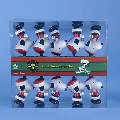 Set of 10 Peanuts Santa Suit Snoopy with Bells Novelty Christmas Lights - Green Wire ()