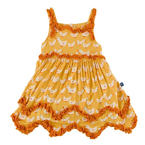 Kickee Pants Little Girls Print Ruffle Dress Romper Fuzzy Bee Ducks, 6 - 12 Months -