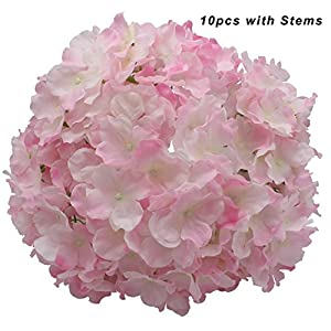 Kislohum Artificial Hydrangea Flowers Heads for Wedding Bouquet DIY Floral Decor Home Garden Party Decorations,Pack of 10 with Stems-Pink 77