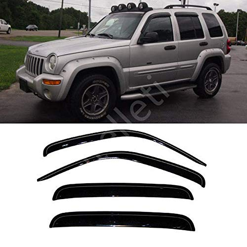 itelleti 4pcs Outside Mount Dark Smoke Sun/Rain Guard Front+Rear Tape-On Auto Window Visors For 02-07 Jeep Liberty ()