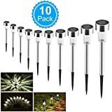 Solar Garden Lights, BASEIN Waterproof Landscape/Pathway Lamp Stainless Steel Outdoor Solar Lights for Patio, Lawn, Yard, Walkway, Easy Install No Wires 100% Money Back Guarantee (10 Pack)