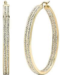 Women's Large Hoop Earrings with Rhinestone