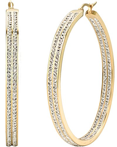 Jstyle Women's Stainless Steel Pierced Large Hoop Earrings with Rhinestone Yellow ()