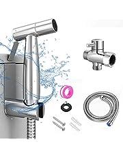 Handheld Bidet Toilet Sprayer, Stainless Steel Bathroom Bidet Sprayer Set, Baby Cloth Diaper Sprayer, Brush Nickel Finish,Wall or Toilet Mount