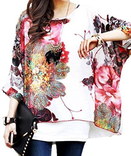 erdbeerloft - Camisas - Túnica - manga 3/4 - Semitransparente - para mujer blanco blanco