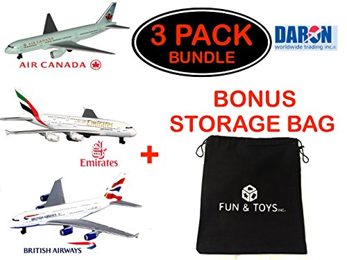 Fun & Toys Inc. Daron British Airways, Emirates & Air Canada Die-cast Planes with Bonus Storage Bag Set Bundle - 3 Pack (Daron Air Canada)