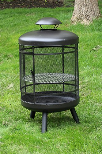 Oliver and Smith - Large Iron Outdoor Round 360 Degree Patio Chiminea Fireplace Mesh Door - 24
