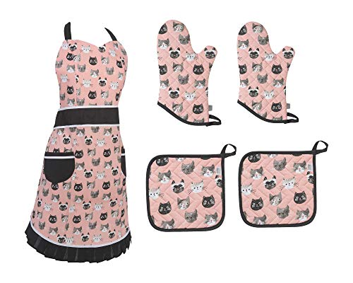 Cat Lovers Gift! Betty Cat Design Apron, 2 Oven Mitts 2 Pot Holders 5 pc