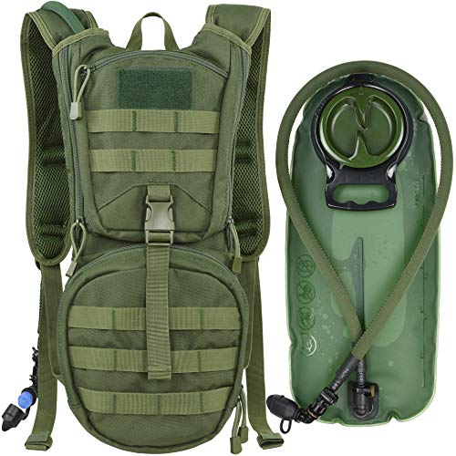 MARCHWAY Tactical Molle Hydration Pack Backpack with 3L TPU Water Bladder, Military Daypack for Cycling, Hiking, Running, Climbing, Hunting, Biking (Green)