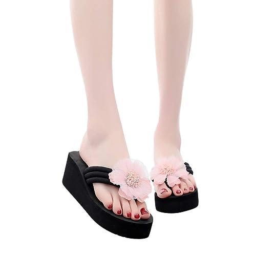 2962bdbdb77e PLOT Women s Ladies Summer Flower Home Wedges Beach Shoes Sandals ...