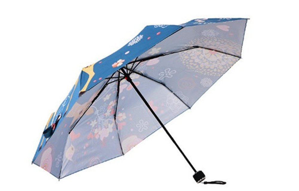 Amazon.com : Katoot@ Original Deer and Flower silver coating fold manual umbrella rain/sun women, blue illustration printing plegable paraguas mujer ...