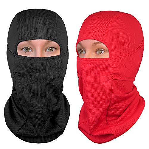 - The Friendly Swede Nordic Balaclava 2-Pack Face Mask Motorcycle Helmets Liner Ski Gear Neck Gaiter Ski Mask Accessories (Black+Red, Standard)