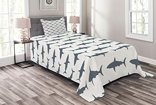 Ambesonne Sea Animals Bedspread Set Twin Size, Sharks Swimming Horizontal Silhouettes Powerful Dangerous Wild Life, Decorative Quilted 2 Piece Coverlet Set with Pillow Sham, Charcoal White
