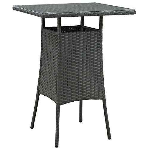 Modway Sojourn Square Outdoor Patio Rattan Glass Top Square Bar Table, Espresso