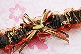 Customizable handmade - Camouflage fabric & orange sheer organza armband bridal prom camo garter with deer duck fish heart charm or rhinestone