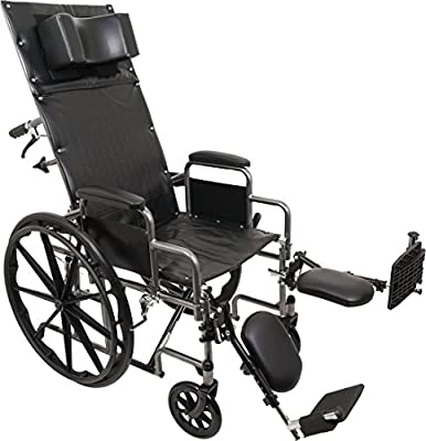 ProBasics Standard Reclining Wheelchair - Padded Detachable Desk Length Arms - 300 Pound Weight Capacity - Elevating Leg Rest, 20 x 16 inch Seat