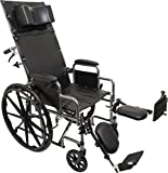 ProBasics Standard Reclining Wheelchair - Padded Detachable Desk Length Arms - 400 Pound Weight Capacity - Elevating Leg Rest, 22 x 16 inch Seat