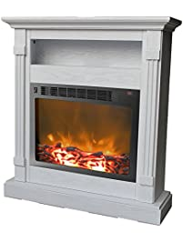 cambridge sienna fireplace mantel with electronic fireplace insert white - Gel Fuel Fireplace