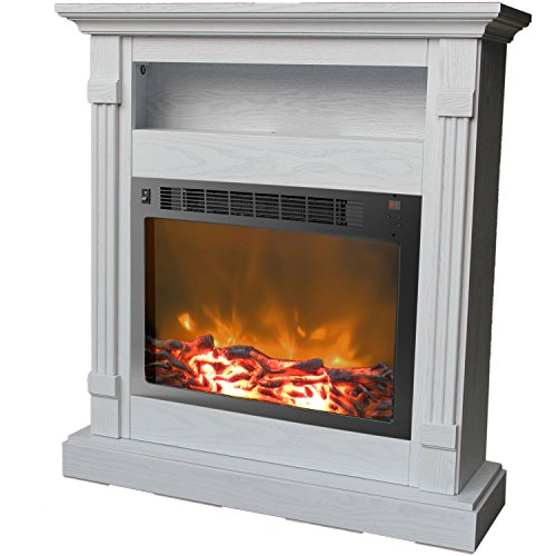 Cambridge Sienna Fireplace Mantel with Electronic Fireplace Insert, White