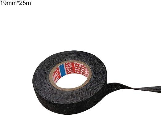 Rycnet - Cinta aislante adhesiva de tela resistente a altas temperaturas (25 m) 19mmx25m negro: Amazon.es: Hogar