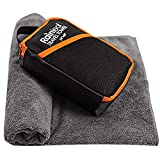 Rainleaf Microfiber Towel,Perfect Fast Drying Towel,Backpacking Towel,Swimming Towel, Absorbent Towel,Microfiber Towels for Body,Ultra Compact-Soft -Lightweight,Gray 34'x60'