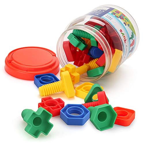 - LotFancy Jumbo Nuts and Bolts Fine Motor Skills, Occupational Therapy Toddlers Toys with Storage Case, 24 PCS Montessori Building Construction Set Kids Matching Game Toys for Preschoolers Boys Girls