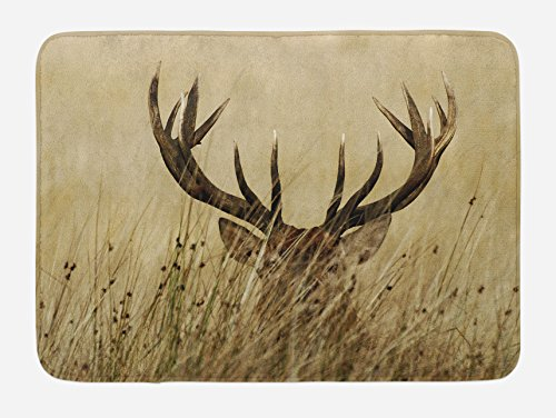 Antler Bath Mat by Lunarable, Whitetail Deer Fawn in Wilderness Stag in Countryside Rural Hunting Theme, Plush Bathroom Decor Mat with Non Slip Backing, 29.5 W X 17.5 W Inches, Brown Sand (Deer Bath)