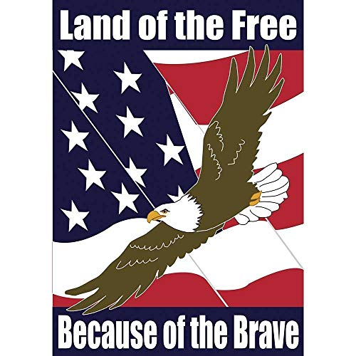 HOOSUNFlagrbfa Land of Free Because of Brave Bald Eagle 18 x 13 Rectangular Double Applique Small Garden Flag
