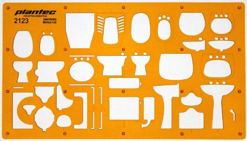 Metric 1:20 Scale Architectural Sanitary Plumbing Fixtures Architect Drafting Template Stencil - Technical Drafting Design Floor Plan Symbols