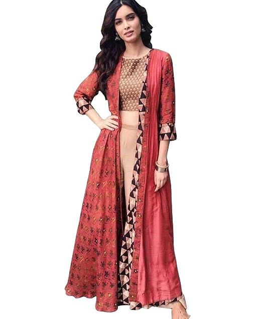 112f507c86be Krupalu Creation Women s Silk Diana Raspberry Indo Western (Peach ...