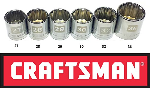 "Craftsman Laser Etched Easy Read 6 Piece Large Metric/MM ½"" Drive 12 Point Socket (12 Point Socket Wrenches)"