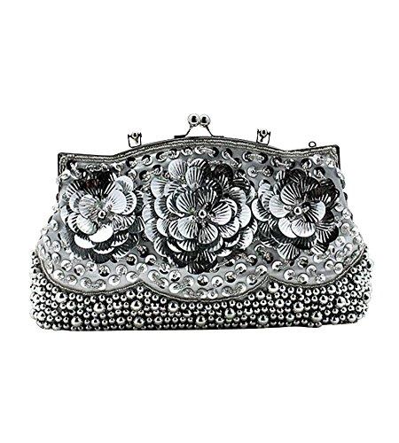 MissFox Women's Vintage Bead Flower Pattern Design Handbag Chain Evening Bag Silver