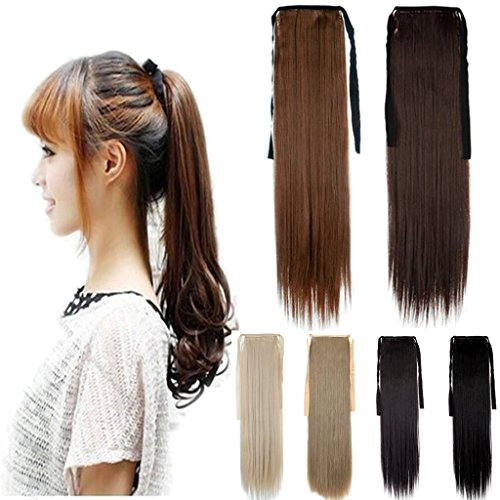FUT Binding Ponytail One Piece Clip in Straight Pony Tial Hair Extensions Wrap Around Ponytail 22inch 100g for Girl Lady Women Light Brown