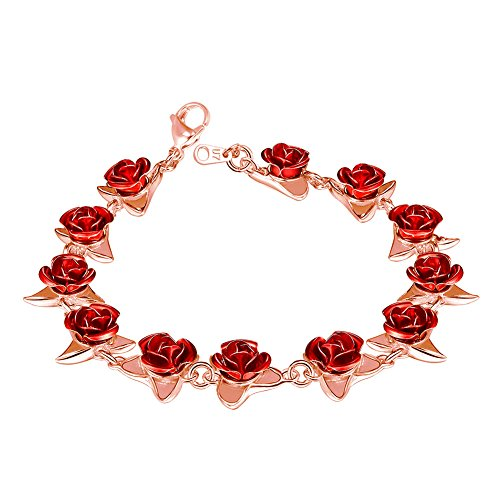 U7 Women Girls Cute Rose Gold Plated Link Red Rose Flower Charm Bracelets, Nature Garden Rose Jewelry Wedding/Party/Bridesmaid
