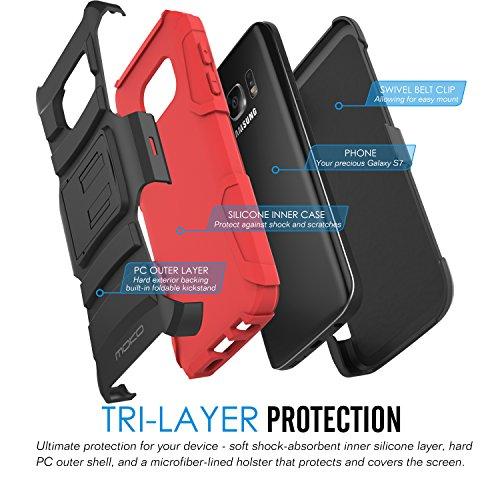 MoKo Galaxy S7 Funda - Full Body Resistente Función Soporte / Kickstand Doble Back Cover Case con Correa Giratoria Clip para Samsung Galaxy S7 5.1 Smartphone 2016 Edición ( No Apta Galaxy S7 Edge ),  Rojo