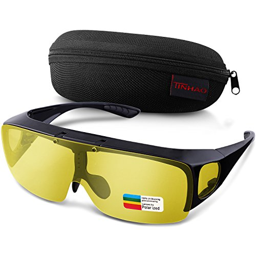 Headlight Night Vision Driving Fit Over Sunglasses with Flip Up Lens- By - Sunglasses Glare Reducing
