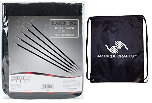 Knitter's Pride Karbonz Double Pointed 6-inch (15cm) Knitting Needle Set; 5 Knitting Needles of 6 Sizes with 1 Artsiga Crafts Project Bag 110604 by Artsiga Crafts Knitter's Pride