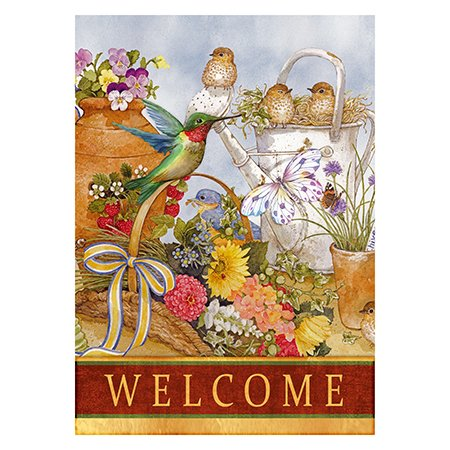 Welcome Spring Birds Vertical House Large Outdoor Decoration Flag 28