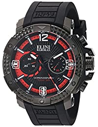 Elini Barokas Men's 'Arena' Swiss Quartz Stainless Steel and Silicone Automatic Watch, Color:Black (Model: 20033-BB-01-RDA)