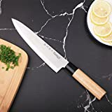 MICHELANGELO 8 inch Chef Knife Japanese Knife Wooden Handle, 8 Inch Japanese Knife Stainless Steel, Kitchen Knife 8 Inch Wooden Handle, Japanese Professional Chef Knife High Carbon Stainless Steel