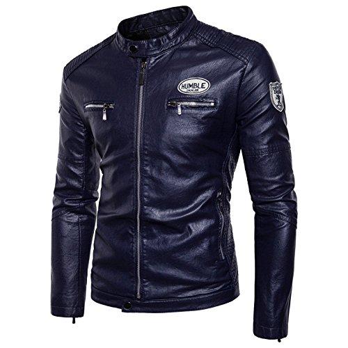 Los hombres chaqueta gruesa felpa código tamaño del hombre moto chaqueta casual ropa de abrigo de invierno, azul marino ,2XL