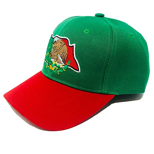 GREAT CAP Mexico Constructed Baseball Cap - Classic Mexico Flag Color Design Adjustable Hat Daily Fashionable Futbol Cap - Mexico Flag with Eagle Green/RED -