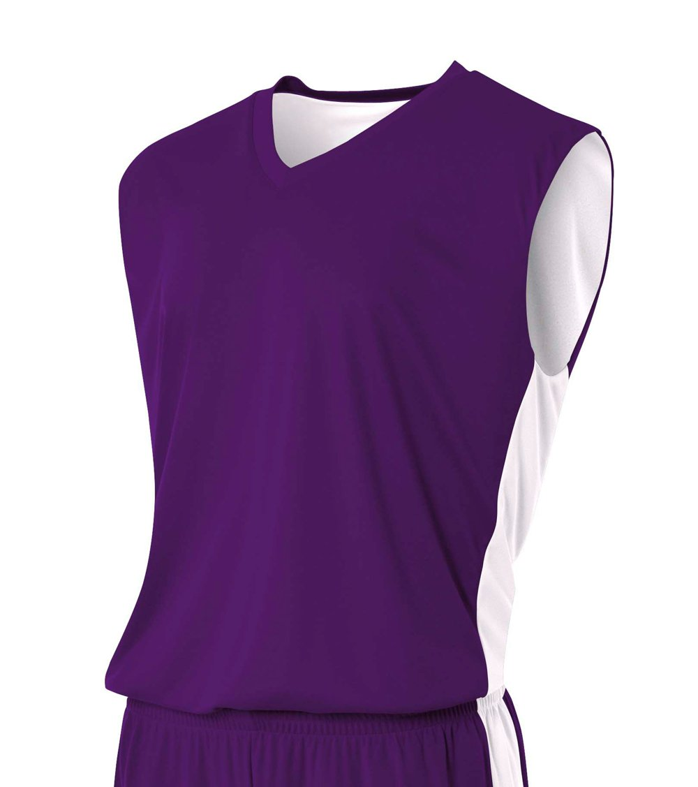 A4 NB2320 Youth Reversible Moisture Management Muscle Purple/White