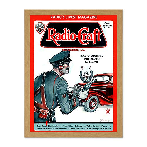 Wee Blue Coo Magazine Cover Radio Craft 1936 Radio Cops! Art Large Framed Art Print Poster Wall Decor 18x24 inch