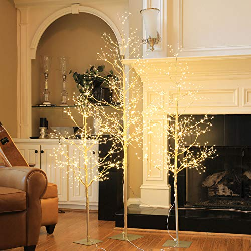 Holiday Tree Collection (Lightshare Christmas Tree Combo Kit - Starlit Tree Collection with Angel Lights, 4 Feet 5 Feet and 6 Feet, Golden, Pack of 3, Perfect for Home Decor Holiday Party Wedding)