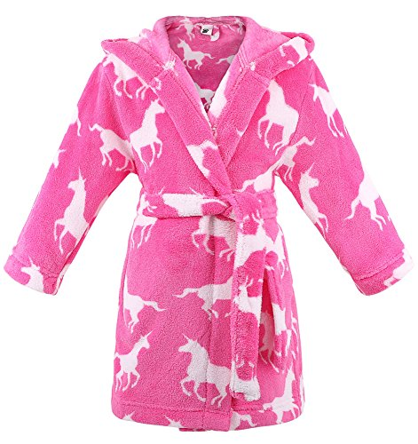 ARCTIC Paw Girls Robe Hooded Printed Flannel Fleece Bathrobe w/Pockets,Unicorns,M