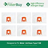 6 - Miele FJM Vacuum Bags, Miele Part # 7291640. Designed by FilterBuy to fit the Miele HyClean FJM Canister Vacuum Cleaner