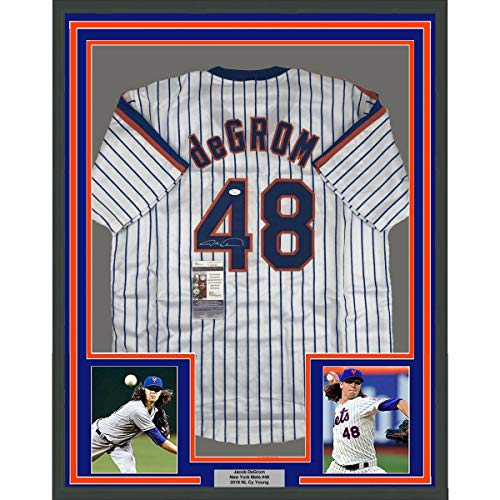Framed Autographed/Signed Jacob DeGrom 33x42 New York NY Pinstripe Baseball Jersey JSA - Pinstripe Jersey Replica Mets Mlb