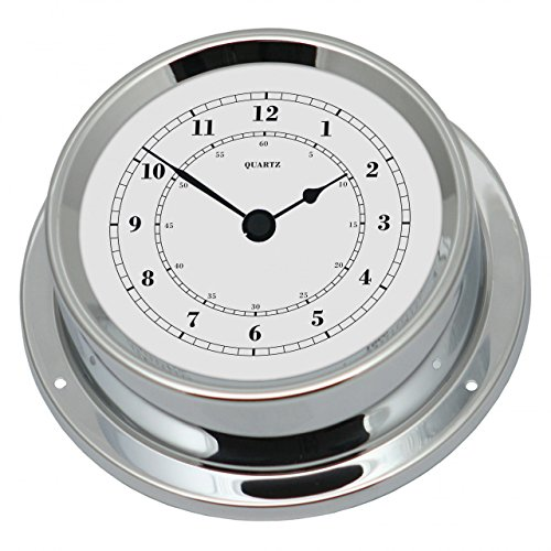 Fischer maritime Quarz-Uhr, Messing verchromt, 125mm